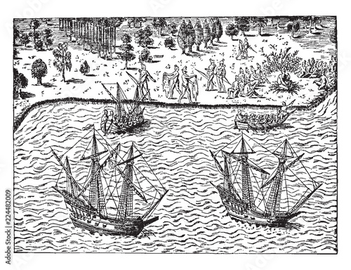 Fototapeta The Huguenots - The Landing of John Ribault,vintage illustration.
