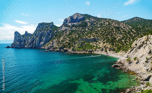 Sea aerial view, Top view, amazing nature background.The color of the water and beautifully bright. Azure beach with rocky mountains and clear water of Crimea at sunny day.