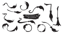 Spooky Broomstick Silhouette Collection Of Halloween Vector Isolated On White Background. Scary And Creepy Element