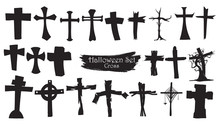 Spooky Cross Cemetery Silhouette Collection Of Halloween Vector Isolated On White Background. Scary And Creepy Tombstone Element