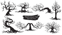 Spooky Trees Silhouette Collection Of Halloween Vector Isolated On White Background. Scary, Haunted And Creepy Curly Plant Element