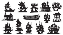 Spooky Castle Silhouette Collection Of Halloween Vector Isolated On White Background. Scary, Haunted And Creepy House Element