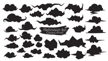Spooky Cloud Silhouette Collection Of Halloween Vector Isolated On White Background. Scary, Haunted And Creepy Sky Element