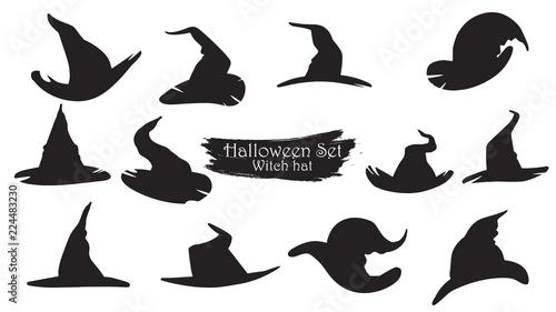 Slika na platnu Spooky witch hats silhouette collection of Halloween vector isolated on white background