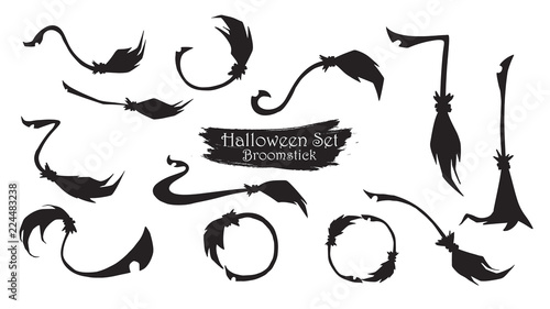 Photo Spooky broomstick silhouette collection of Halloween vector isolated on white background