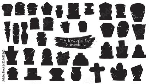 Canvas-taulu Spooky gravestone cemetery silhouette collection of Halloween vector isolated on white background