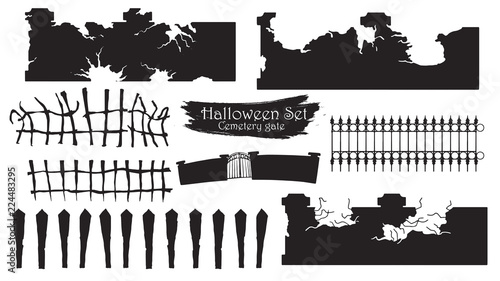 Photographie Spooky cemetery gate silhouette collection of Halloween vector isolated on white background