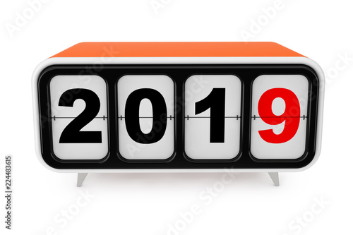 Retro Flip Clock with 2019 New year Sign. 3d Rendering