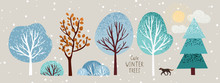 Cute Winter Trees, Vector Isol...