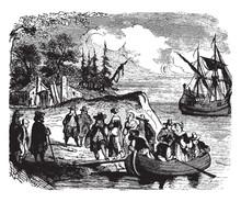 Landing Of The Dutch Settlers On Manhattan Island,vintage Illustration.