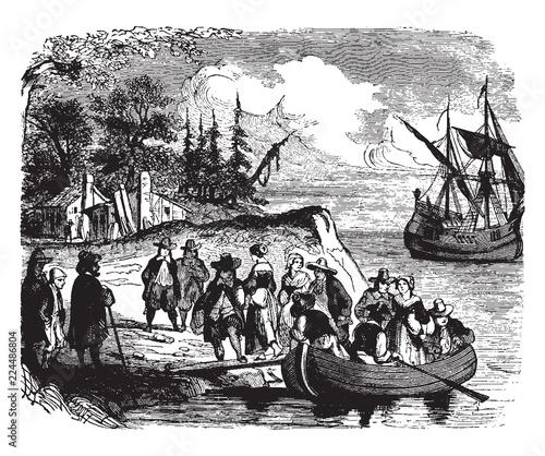 Fotografía Landing of the Dutch settlers on Manhattan Island,vintage illustration