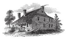 Washington's Headquarters At Newburg Vintage Illustration.