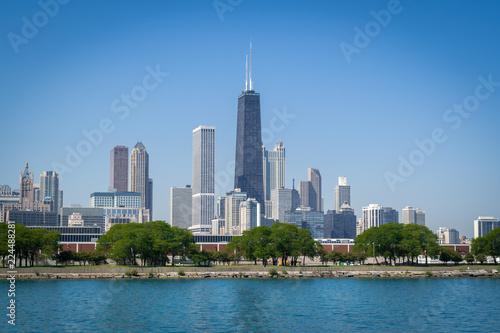 Fotobehang Chicago Skyline von Chicago (Sicht von Lake Michigan)