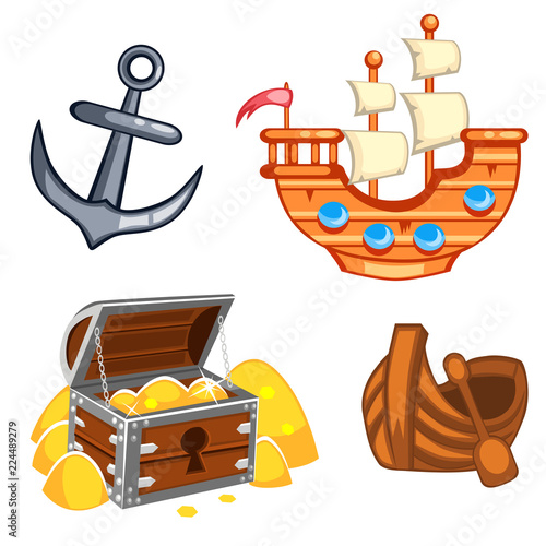 Fotografía  Set of underwater cartoon vector items a ship, an anchor, a chest with gold, a b