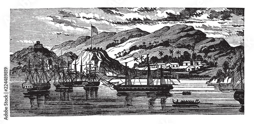 Платно The Essex and Her Prizes in Massachusetts Bay, vintage illustration