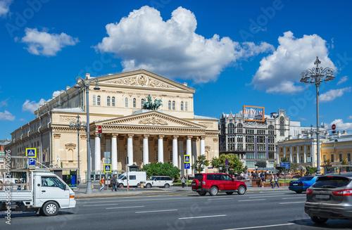 Большой театр в Москве солнечным днем Bolshoi Theater and white clouds on a blue Canvas Print