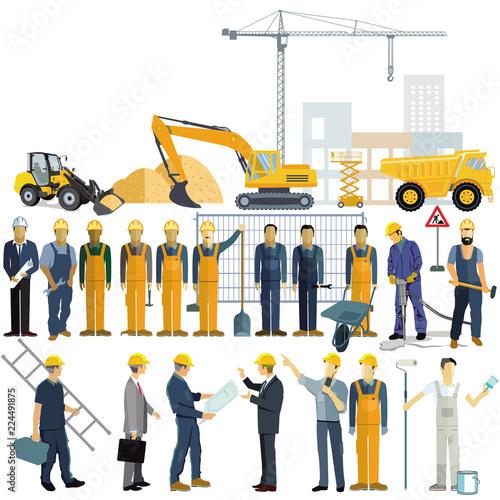 Stampa su Tela Handwerker und Architekt, Arbeiter beim Arbeitsprozess des Gebäudes