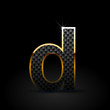 Black carbon fiber letter D lowercase with gold outline isolated on black background