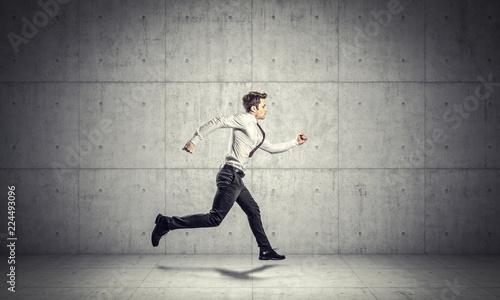 Obraz running businessman background - fototapety do salonu