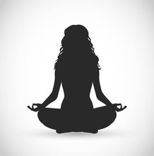Woman With Long Hair Meditation Vector Illustration