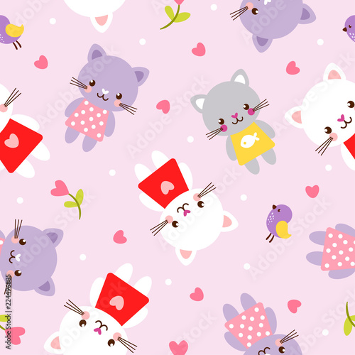 Vector seamless illustration with kittens. Picture in the children's, cartoon style. Pattern with pets