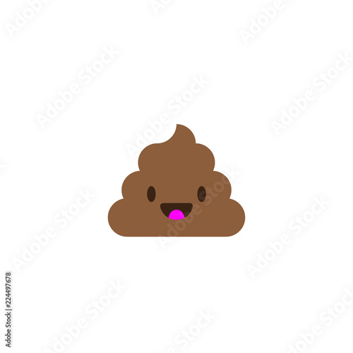 Fotografia, Obraz Pile of Poo icon. Shit emoticon flat design