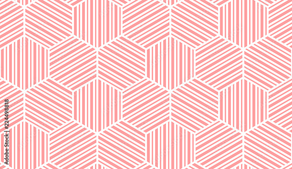 Abstract geometric pattern with stripes, lines. Seamless vector background. White and pink ornament. Simple lattice graphic design