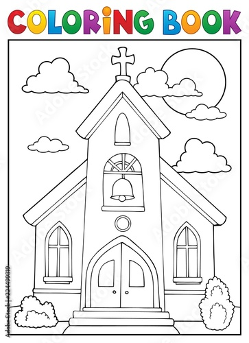 Wall Murals For Kids Coloring book church building theme 1