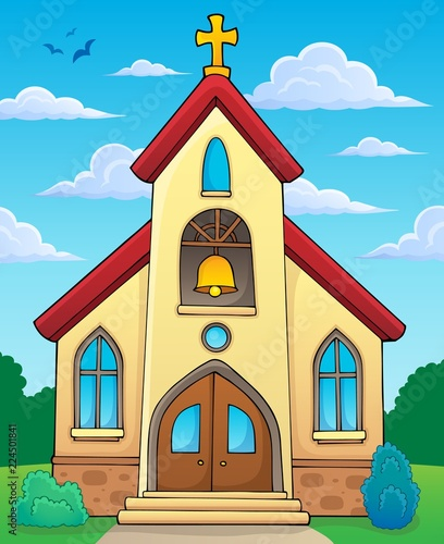 Fotobehang Voor kinderen Church building theme image 2