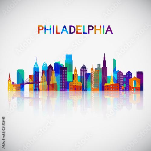 Cuadros en Lienzo Philadelphia skyline silhouette in colorful geometric style