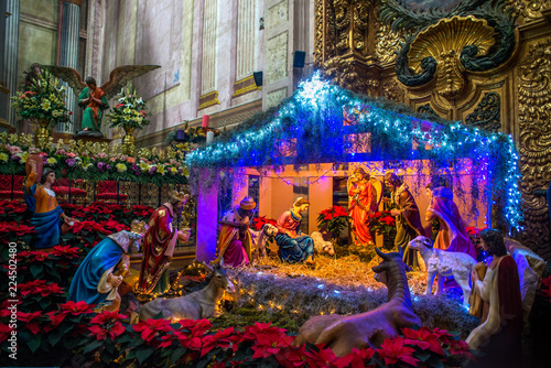 Nativity Scene, Santa Rosa de Viterbo Church, Queretaro, Mexico Canvas Print