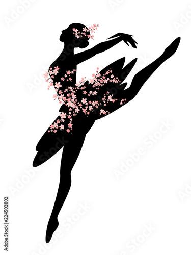Fotografie, Tablou beautiful ballerina girl among blooming cherry tree branches - ballet dancer vec