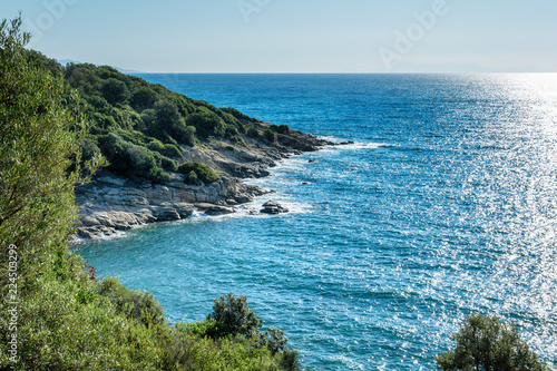 Tuinposter Mediterraans Europa Panoramic view of Aegean sea at Chalkidiki, Greece