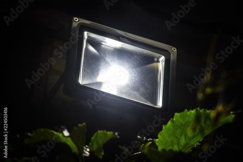 Obraz Garden LED spotlight on a wooden building close-up. - fototapety do salonu