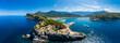 canvas print picture Luftaufnahme, Bucht, Naturhafen, Port de Sóller, Serra de Tramuntana, Mallorca, Balearen, Spanien