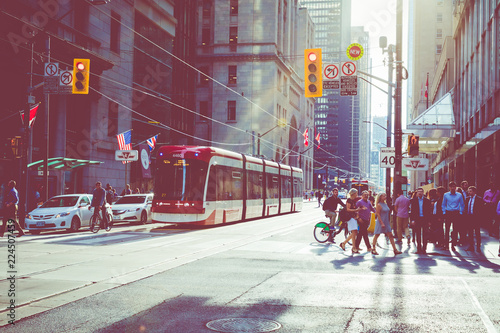 Foto auf Leinwand Toronto Rush hour atToronto's busiest intersections. Financial district at the background.