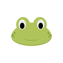 Frog Face In Cartoon Style For...