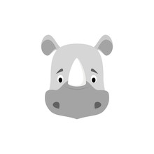Rhino Face In Cartoon Style For Children. Animal Faces Vector Illustration Series