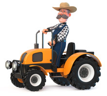 3d Illustration The Farmer Rides On A Big Tractor/3d Illustration Cowboy Is Engaged In Harvesting