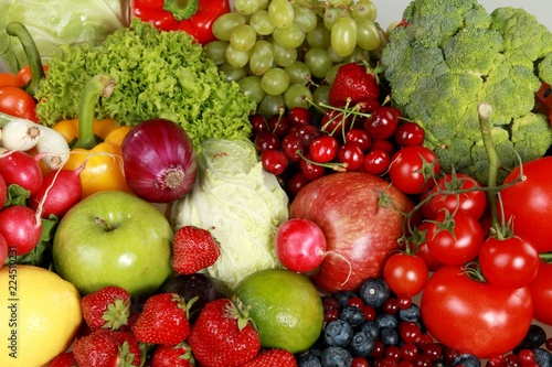 Assorted produce - bell peppers, apples, berries, blueberries