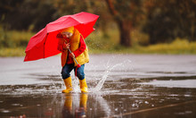 Happy Child Baby Boy With Rubber Boots And Umbrella Jump In Puddle  On Autumn Walk