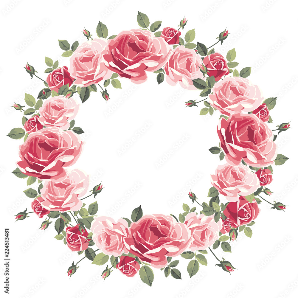 Fototapeta Wreath of vintage pink roses on a white background. Vector