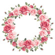 Wreath of vintage pink roses on a white background. Vector