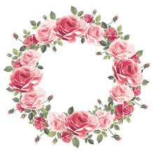 Wreath Of Vintage Pink Roses O...