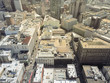 Aerial view downtown San Francisco and South of Market district from Union Square. Flyover dense skyline and urban scene