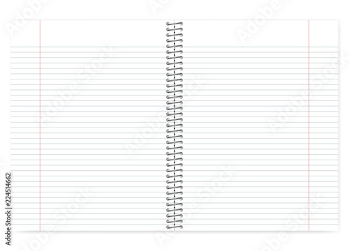 Open lined wire bound notebook with margin template Canvas Print