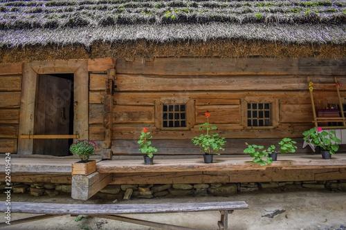 Drewniana chata, skansen Ukraina Lwow