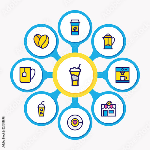 Photo  Vector illustration of 9 java icons colored line