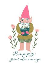 Cute Garden Gnome With A Pot W...
