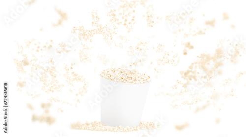 Blank white food bucket with popcorn mockup isolated on background